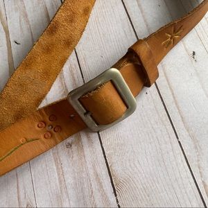 Vintage stamped leather hippy belt